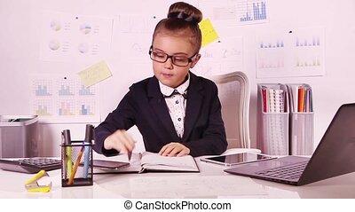 girl, joli, bureau, business