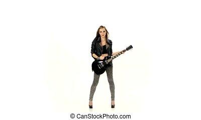 girl, jouer, jeune, blanc, arrière-plan., guitare, électrique, beau