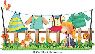 girl, jouer, lapin, jardin, vêtements
