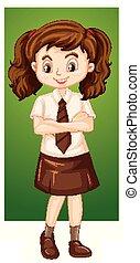 girl, jupe, heureux, brun