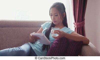 girl, livre, boire, lecture, eau