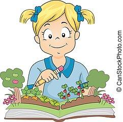 girl, livre, jardin, jardinier, gosse