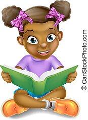 girl, livre, lecture, dessin animé