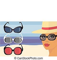 girl, lunettes soleil