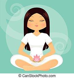 girl, méditation, attitude