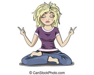 girl, méditation, blonds