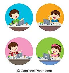 girl, maison, boîte, séjour, style de vie, maison, garçon, sain, utilisation, enfants, vous, activité, technologie, gadget