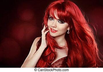 girl, make-up., makeup., cheveux, heureux, hair., woman., portrait, hairstyle., pretty., ondulé, rouges, sain, sourire, long, beau