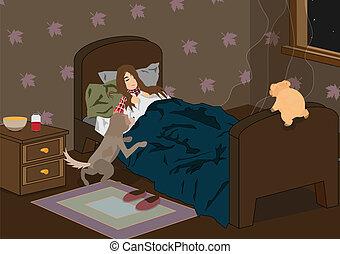 girl, malade, dormir