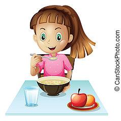 girl, manger petit déjeuner