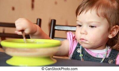 girl, manger, porridge, bébé