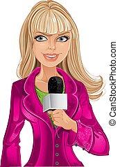 girl, microphone, blonds, journaliste