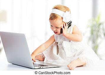 girl, mobile, bébé, téléphone, informatique, ordinateur portable
