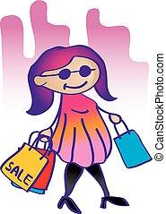 girl, mode, achats, illustration