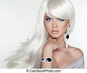 girl, mode, beauté, portrait., hair., blonds, séduisant, long, blanc