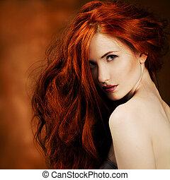 girl, mode, hair., portrait, rouges
