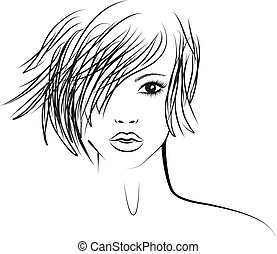 girl, mode, mode, illustration, coiffure