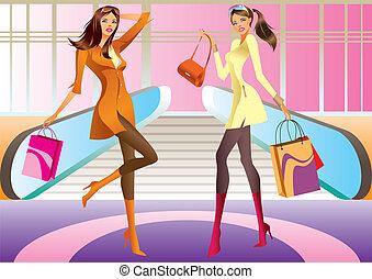 girl, mode, sac à provisions, deux