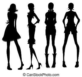 girl, moderne, silhouette