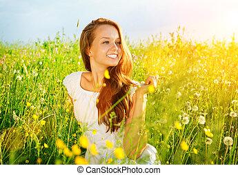 girl, nature., gratuite, outdoor., jouir de, allergie, meadow., beau
