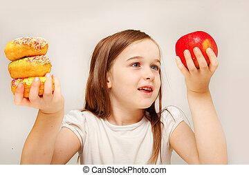 girl, nourriture, confection, décisions, jeune, malsain, betwen, depicts, y, nourriture., sain, ceci, photo