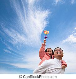 girl, nuage, père, heureux