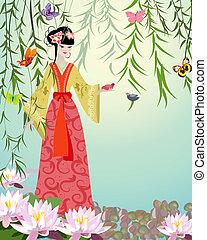girl, oiseaux, chinois