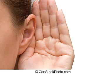 girl, oreille, écoute, elle, main
