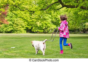 girl, parc chien