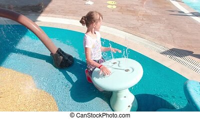 girl, parc eau, jouer