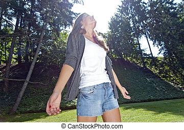girl, parc, jeune, rire