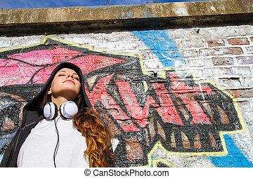 girl, penchant, mur