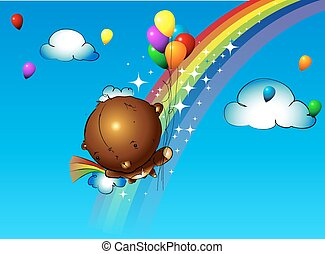 girl, pendre, ballons, ours, teddy