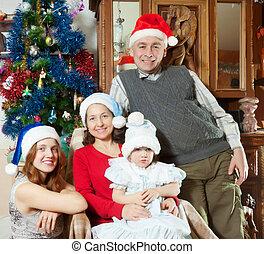 girl, peu, chapeaux, famille, santa