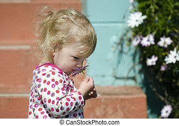 girl, peu, fleur, odeur
