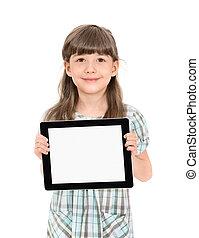 girl, peu, informatique, joli, tablette