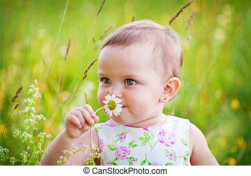 girl, peu, pâquerette fleur
