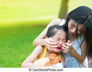girl, peu, pleurer, asiatique