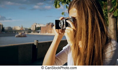 girl, photographié, retro, appareil-photo., séduisant