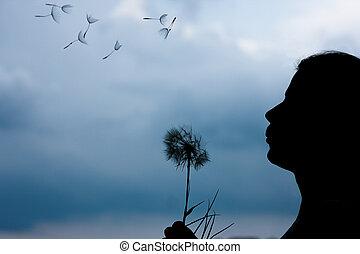 girl, pissenlit, silhouette