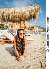 girl, plage, délassant