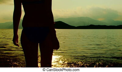 girl, plage, jeune