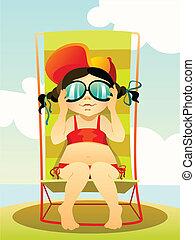 girl, plage, lunettes soleil, jeune