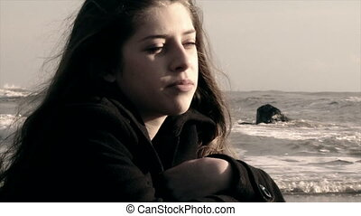 girl, plage, triste
