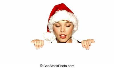 girl, planche, tenue, vide, claus, santa chapeau