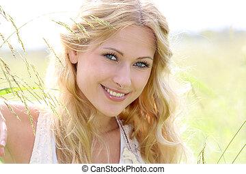 girl, portrait, campagne, blonds, beau