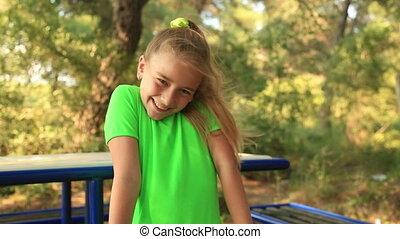 girl, portrait, jeune, sourire