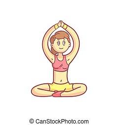 girl, pose, yoga, méditation
