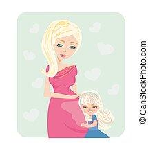 girl, pregnant, ventre, étreindre, mère