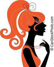 girl, profil, silhouette, beau